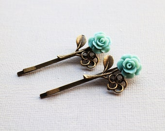 Rose Hairpins Set. branch accessory. mint green flower bobbypins. vintage wedding. bridesmaid. bridal