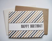 Modern Birthday Card - Black Gold Grey Happy Birthday Stripes, Contemporary Birthday, Neutral Modern Invitations, Tan Beige Black Chalk