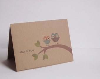 Owl Thank You Cards - Baby Shower Thank You Cards, Girl Boy Neutral Owls Thank You Notes, Woodland Kraft Owls Pink Teal Blue Green Brown