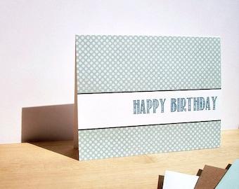 Modern Birthday Card - Dusty Teal Blue Mini Polka Dots, Contemporary Happy Birthday Card, Neutral Modern Invitations, Teal Blue Beige White