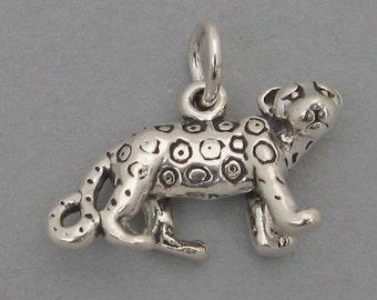 Sterling Silver 925 Charm Pendant 3D CHEETAH JAGUAR LEOPARD 2705