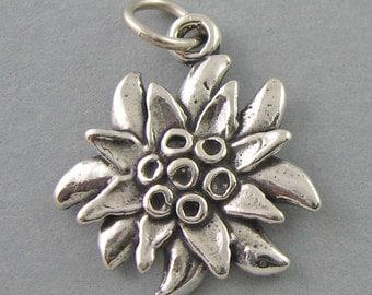 Sterling Silver 925 Charm Pendant EDELWEISS FLOWER Garden 4096