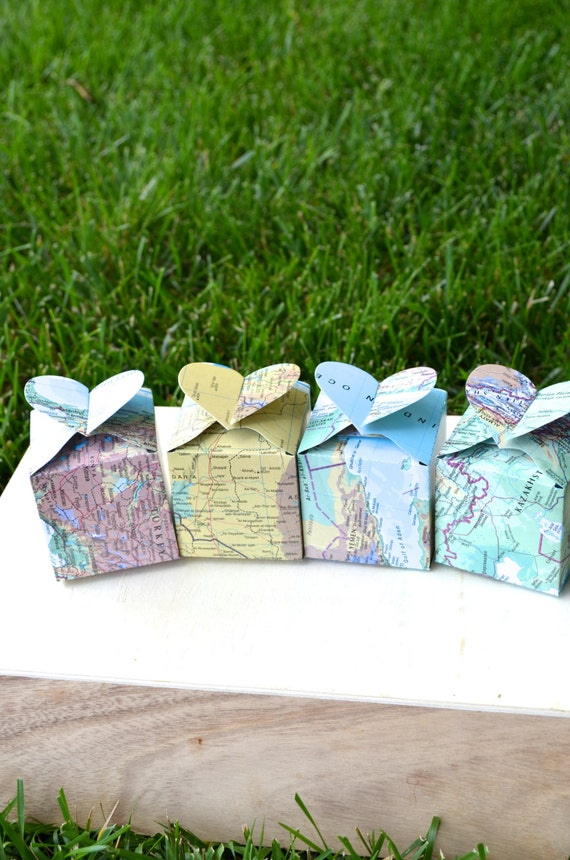 Heart Topped Favor Boxes in vintage map, sets of 10, 50 or 100
