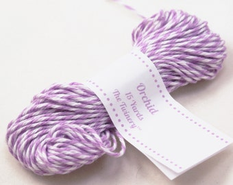 Bakers Twine - BRIGHT & BOLD Orchid Purple and White String for crafting, gift wrapping, packaging, invitations - 15 yards