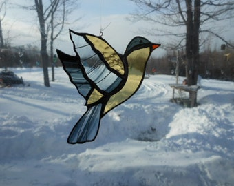 American gold finch med. stained glass suncatcher