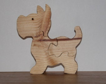 Wooden Dog Puzzle for Child - Kid's Toy - Child's Puzzle - Scottie Dog