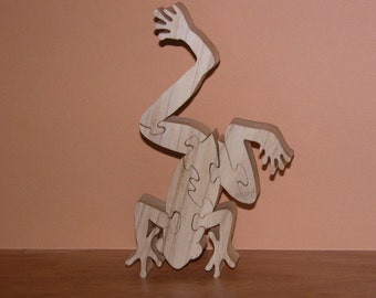 Wooden Frog Puzzle - Home Or Office Decor - Animal Theme Puzzle - Conversation Piece