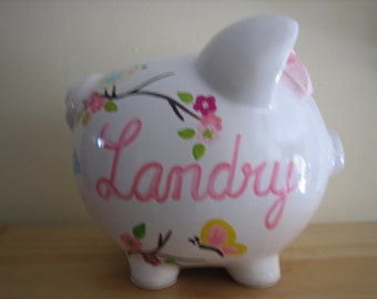 Personalized Large piggy bank- Apple Blossom pink and b;lue birds-Newborns , Girls , Baby Shower Gift Centerpiece