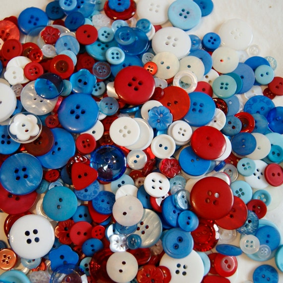 50 Red White Blue, Patriotic Mix, 4th Of July Mix Assorted sizes, Sewing, Grab Bag, Crafting, Jewelry  (849)
