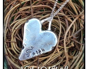 Personalized Hand Stamped Pewter Heart Necklace