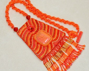 Orange Pendant necklace Abstract Bead Embroidery