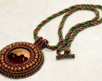 Copper and Green Necklace Vintage Glass Pendant