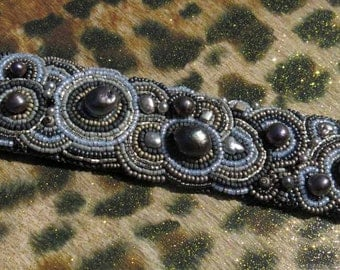 Gray Pearl Embroidered Bracelet