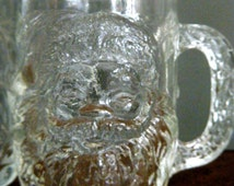 Clear Glass Santa Mugs in High Relief, Set of 5, Made in USA by Luminarc, Impact Resistant and Great For Kids Use, Hot Chocolate, Xmas Mugs