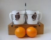Anchor Hocking Mugs 4 Fire King Mug Set Brown Leaf Platinum Rim Original Chrome Caddy