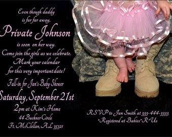 Princess TUTU and Leopard Baby Shower Invitation DigiTal File