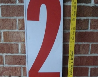 "Vintage 26"" Double Sided Metal Steel Gas Station Number 2/3"