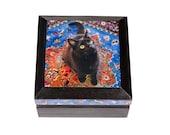Keepsake Box, Wood, Jewelry Box, Black Cat Art, Cat Lady, Cat Lover Gift, Memory Box, Signed Art, Cat Art, Deborah Julian