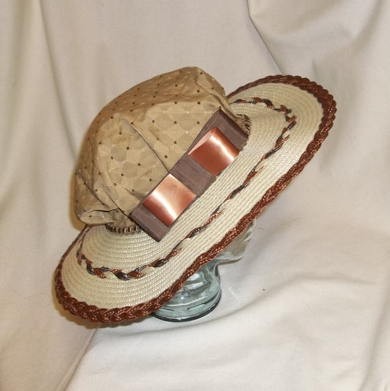 Edwardian Style Hats, Titanic Hats, Derby Hats Tan Ivory and Bown Edwardian Picture Hat $60.00 AT vintagedancer.com