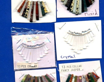 10 Gemstone Collars, 13 tines each,  Assorted, Lot 2289