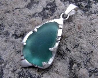 Sea Glass Pendant - Silver - Argentium - Beach Glass - Blue Glass - Kauai