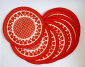 1970s Place Mats Set of Eight Round Red and White With Hearts