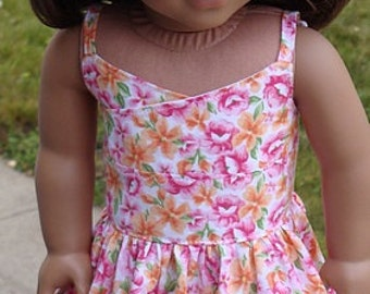Floral Print Wrap-Style Sundress For American Girl Or Similar 18-Inch Dolls