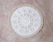 White Snow Flower Crochet Lace Doily, Table Topper, Ecru Trim, New Home Decor