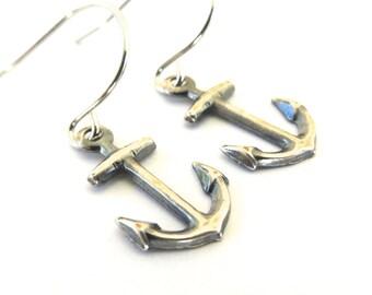 Anchor Earrings- Sterling Silver Ox Finish Dangle Earrings