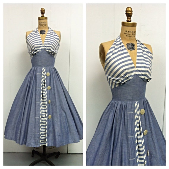 1950s Halter Dress 50s Chambray