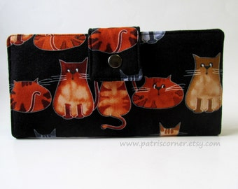 CLEARANCE - Handmade womens wallet - Between cats - Cute cats - ID clear pocket - Ready to ship
