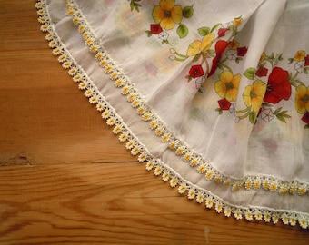 cotton scarf, white yellow red, crochet beaded trim, turkish scarf oya