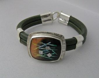 Enameled Jewel in Silver on Green Leather Bracelet