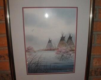 "Wildlife Artist Jerry Raedeke Limited Editon ""Tipis On Little Grass Creek"" Signed & Numbered Art Print"