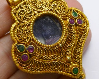 Tibetan Prayer Box Locket Buddhist Ghau Amulet 24kt Yellow Gold Pendant Ready for Stringing Buddha Charm Good Luck Ruby Emerald Gemstone