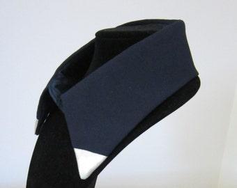 Classy  Navy Fashion Collar with Silver Trim / Detachable Fashion Collar / Classy Accessory