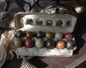 primitive dark Easter farm eggs handpainted and stained