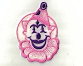 Purple and Pink Clown Jester Retro velveteen Vintage Sewing Patch Collectible