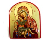Madonna with Christ child Eleusa,  handpainted icon of Virgin Mary and Baby Jesus, READY TO SHIP, 7 by 8 inches