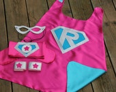 Sparkle PERSONALIZED Girls SUPER HERO Costume - Includes cape with child's initial plus 3 accessories - wrist bands - hero belt - mask