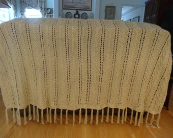 HAND KNITTED AFGHAN :King Size, beige, extra large, hand knitted in an intricate pattern stitch, with fringe on one end
