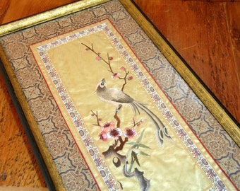 Oriental Bird With Cherry Blossoms Embroidered Silk Artwork Framed