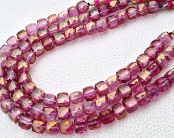 New Stock, Full 8 Inch Strand Mystic PINK Quartz Faceted 3D Cubed Briolettes, 7-8mm,Manufacturers Price