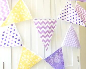 Wedding Banner, Bunting, Fabric Pennant Flag Garland, Wedding, Birthday Party, Baby Nursery, Purple, Lavender, Yellow, Chevron, Quatrefoil