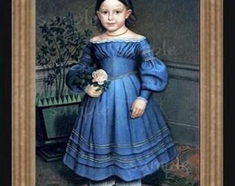 1800's Girl Miniature Dollhouse Folk Art Picture 1726