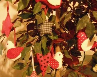Red and white - Bird -  Christmas -  Valentine - Fabric Bird Ornament - ornament