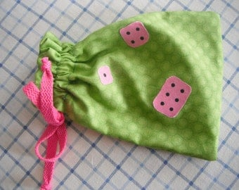 Drawstring Bag for  Game Pieces and Dice / Bag / handmade gift
