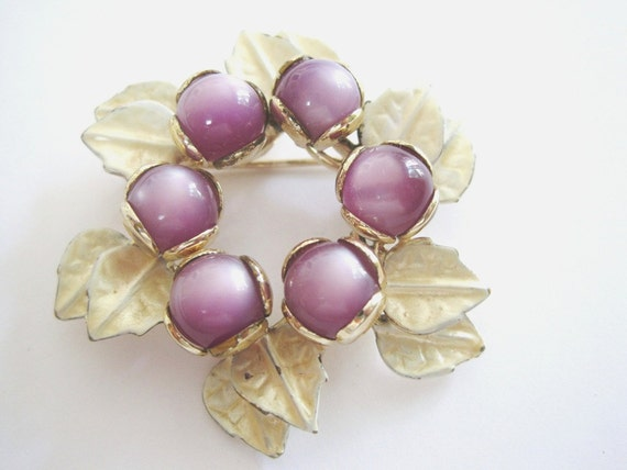Vintage Gold Tone Purple Moonstone and Pale Yellow Leaf Brooch