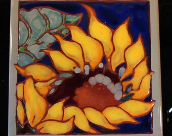 Vintage Handmade Tile Sunflower with Blue Background