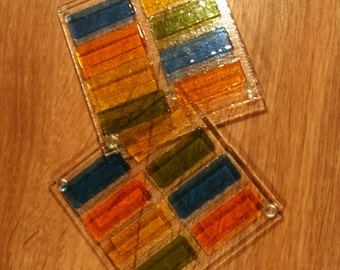 3D Raised Rectangle Glass Coasters - Multicoloured